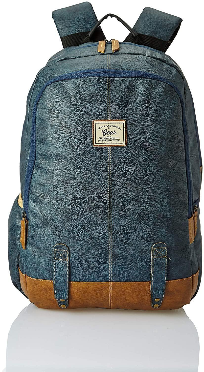 Gear Classic Anti Theft Faux Leather 14 cms Navy Laptop Backpack